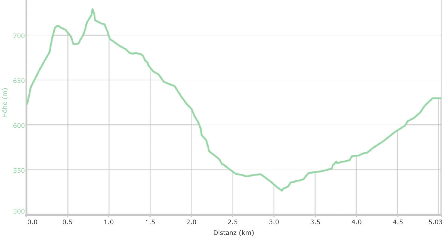 Höhenprofil der Tour: Eidenberger Lusen