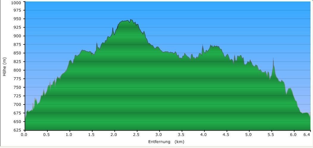 Höhenprofil der Tour: Oberfrauenwald