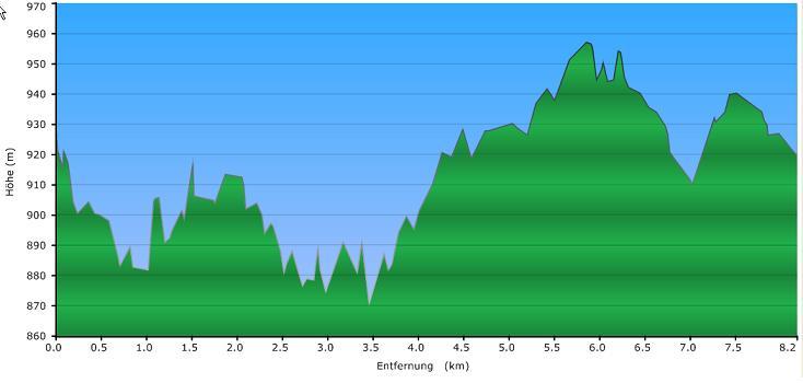 Höhenprofil der Tour: Winterwanderung Osterbach Triftkanal