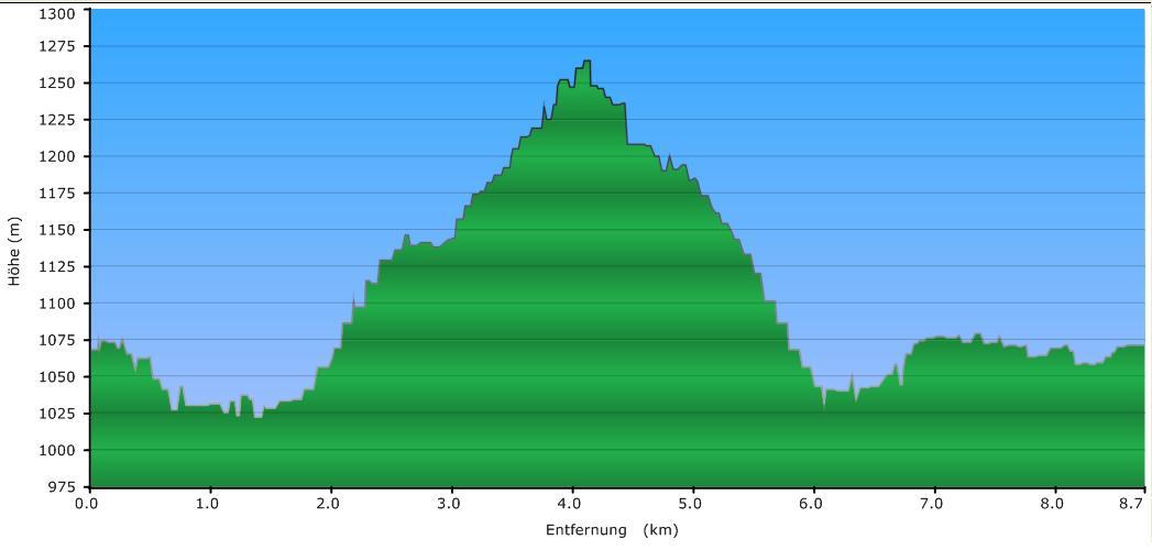 Höhenprofil der Tour: Siebensteinkopf